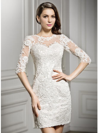 Sheath/Column Illusion Short/Mini Lace Wedding Dress