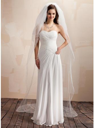 Four-tier Chapel Bridal Veils With Cut Edge