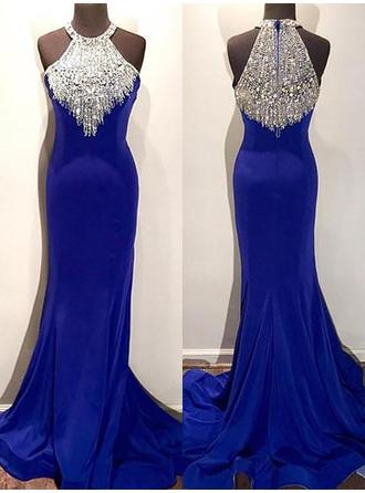 Satin Sleeveless Trumpet/Mermaid Prom Dresses Scoop Neck Beading Sweep Train
