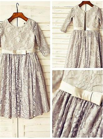 Scoop Neck A-Line/Princess Flower Girl Dresses Lace Sash/Pleated 3/4 Sleeves Tea-length