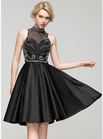 A-Line/Princess High Neck Knee-Length Satin Homecoming Dresses With Beading Sequins