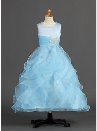 A-Line/Princess Scoop Neck Ankle-length With Ruffles/Beading Organza/Satin Flower Girl Dress