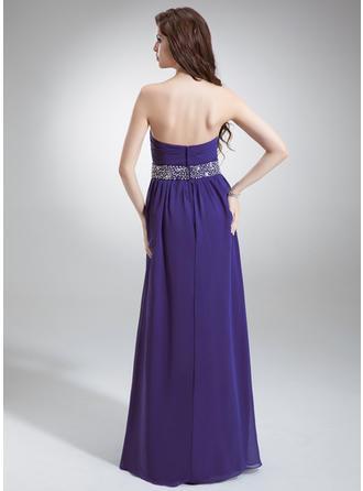 Aライン/プリンセスライン2 シフォン 恋人 袖なし イブニングドレス (017016243)