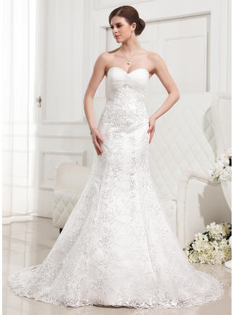 Ruffle Beading Sleeveless Sweetheart Lace Trumpet/Mermaid Wedding Dresses