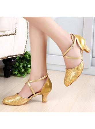 Women's Ballroom Heels Pumps Sparkling Glitter Patent Leather With Ankle Strap Dance Shoes