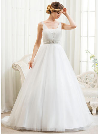Tulle Ball-Gown Princess Beading Appliques Sequins Wedding Dresses