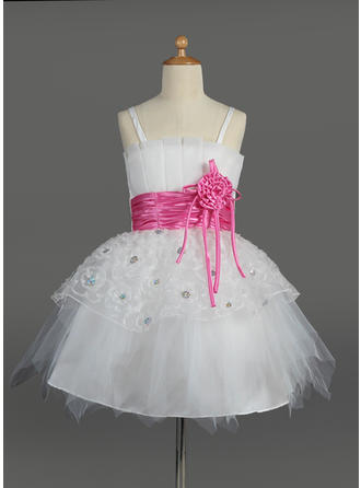 Empire Scalloped Neck Knee-length With Sash/Flower(s)/Sequins Tulle/Charmeuse Flower Girl Dress