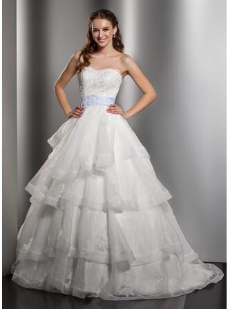 Balklänning Älskling Chapel släp Organzapåse Bröllopsklänning med Spets Skärpband Rosett/-er Svallande Krås