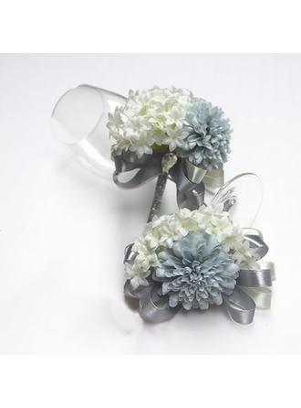 Gorgeous Båndet/Kunstig Silke Flower Sets (sæt af 2) - Håndledskorsage/Boutonniere