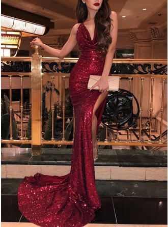 Sequined Sleeveless Trumpet/Mermaid Prom Dresses Cowl Neck Ruffle Sweep Train