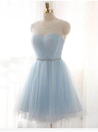 A-Line/Princess Tulle Cocktail Dresses Ruffle Sash Beading Scoop Neck Sleeveless Knee-Length (016217660)