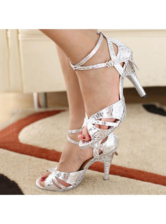 Women's Latin Heels Pumps Leatherette With Ankle Strap Dance Shoes