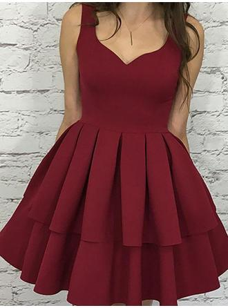 A-Line/Princess Stretch Crepe Cocktail Dresses Cascading Ruffles V-neck Sleeveless Short/Mini
