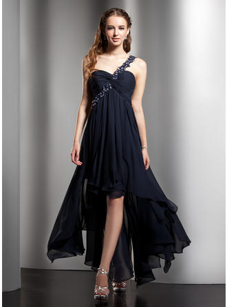 Empire Asymmetrical Chiffon One-Shoulder Homecoming Dresses