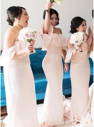 Trumpet/Mermaid Chiffon Bridesmaid Dresses Cascading Ruffles Off-the-Shoulder Sleeveless Sweep Train