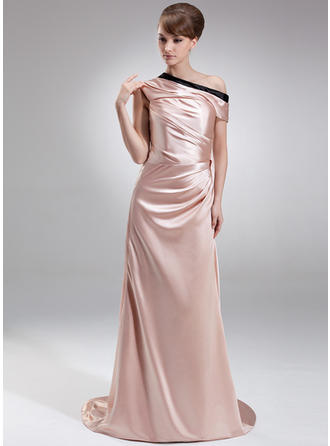 Glamorous Off-the-Shoulder Sheath/Column Charmeuse Evening Dresses