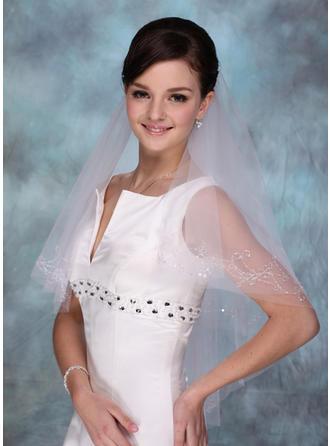 Fingerspitze Braut Schleier Tüll Einschichtig Klassische Art mit Schnittkante Brautschleier