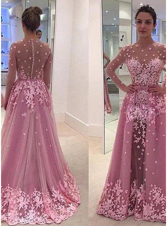 Tulle Long Sleeves A-Line/Princess Prom Dresses Scoop Neck Appliques Lace Floor-Length