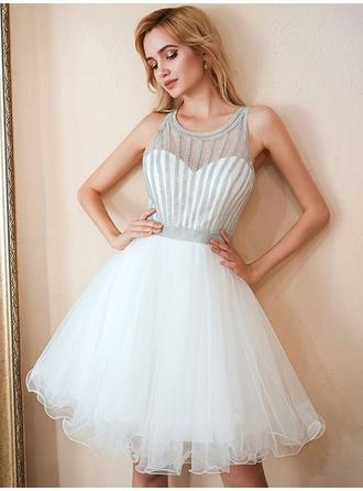 Beading Scoop Neck With Tulle Cocktail Dresses