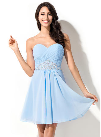 Sweetheart Sleeveless Chiffon Chic Homecoming Dresses