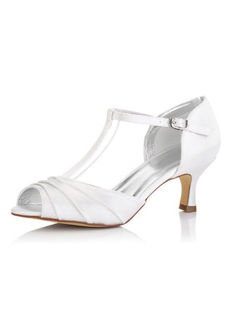 Women's Peep Toe Sandals Dyeable Shoes Spool Heel Satin Yes Wedding Shoes