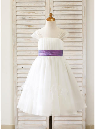 Fashion Tea-length A-Line/Princess Flower Girl Dresses Straps Sleeveless