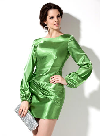 Scoop Neck Long Sleeves Charmeuse Sheath/Column Cocktail Dresses