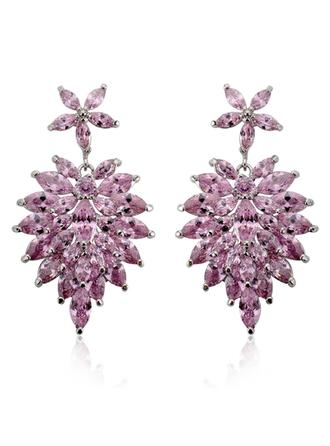 "Earrings Zircon/Platinum Plated Pierced Vintage 1.81""(Approx.4.6cm) Wedding & Party Jewelry"