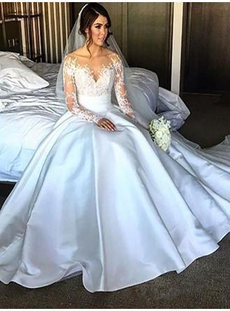 Flattering Court Train Ball-Gown Wedding Dresses Off-The-Shoulder Satin Long Sleeves