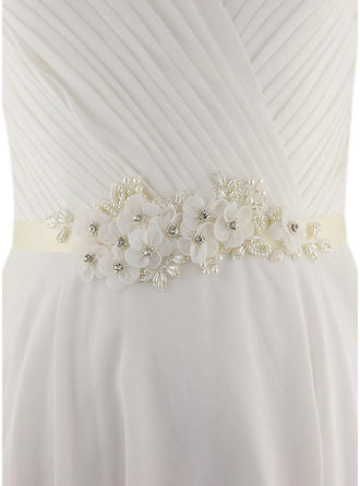 Women Satin With Flower/Imitation Pearls Sash Beautiful Sashes & Belts