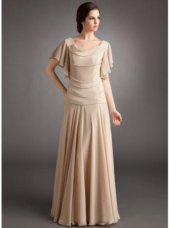 A-Line/Princess Cowl Neck Chiffon Short Sleeves Floor-Length Beading Cascading Ruffles Mother of the Bride Dresses