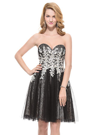 Magnificent Tulle Lace Prom Dresses A-Line/Princess Knee-Length Sweetheart Sleeveless