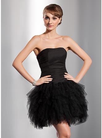 A-Line/Princess Sweetheart Tulle Sleeveless Short/Mini Cascading Ruffles Homecoming Dresses (022014777)