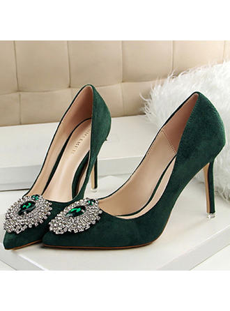 Women's Closed Toe Pumps Stiletto Heel Velvet With Rhinestone Others Wedding Shoes