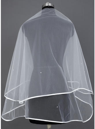 Waltz Bridal Veils Tulle One-tier Classic With Ribbon Edge Wedding Veils