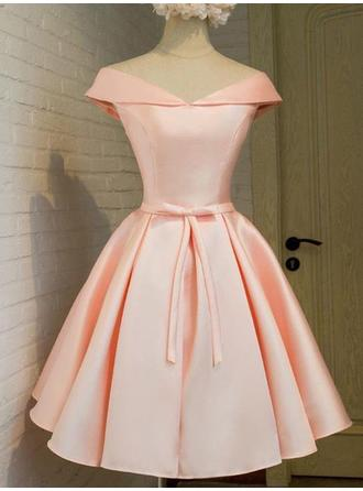 A-Line/Princess Satin Cocktail Dresses Sash Bow(s) Off-the-Shoulder Sleeveless Knee-Length