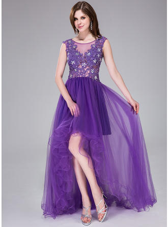 Tulle Sleeveless A-Line/Princess Prom Dresses Scoop Neck Beading Appliques Lace Flower(s) Sequins Asymmetrical