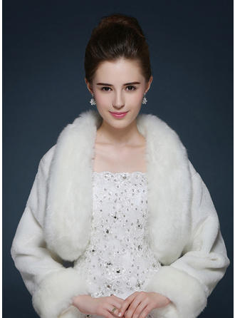Wrap Fashion Faux Fur Ivory Red Wraps