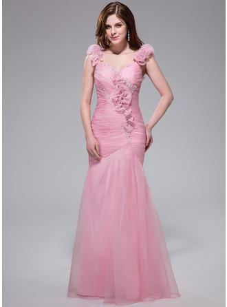 Trumpet/Mermaid V-neck Floor-Length Prom Dresses With Ruffle Beading Flower(s) Sequins
