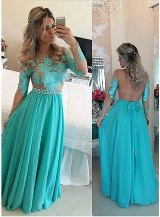 Long Sleeves A-Line/Princess Prom Dresses Scoop Neck Ruffle Sash Appliques Lace Floor-Length
