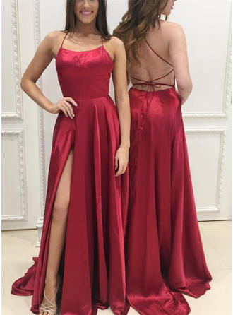 A-Line/Princess Square Neckline Charmeuse Sleeveless Sweep Train Split Front Evening Dresses (017146410)