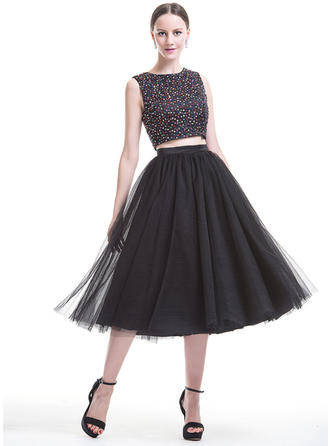 A-Line/Princess Tea-Length Homecoming Dresses Scoop Neck Satin Tulle Sleeveless