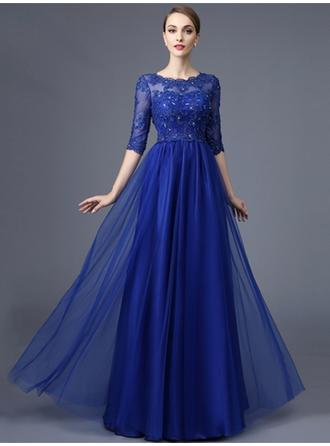 A-Line/Princess Scoop Neck Floor-Length Evening Dress With Beading (017210031)