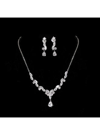 Jewelry Sets Alloy/Zircon Cubic Zirconia Lobster Clasp Earclip Wedding & Party Jewelry (011168177)