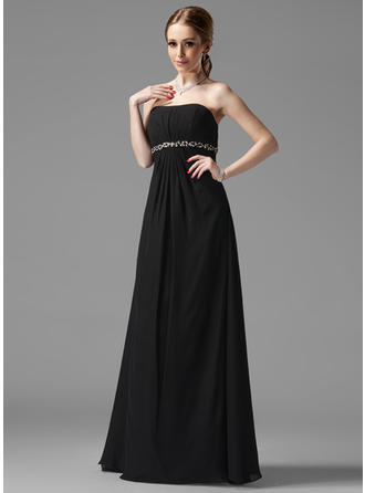 Chiffon Sleeveless Empire Bridesmaid Dresses Strapless Ruffle Beading Floor-Length