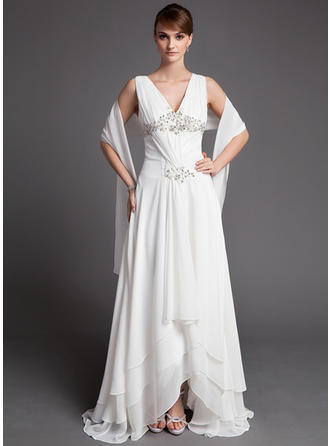 Chiffon Sleeveless Mother of the Bride Dresses V-neck A-Line/Princess Lace Beading Sequins Cascading Ruffles Asymmetrical