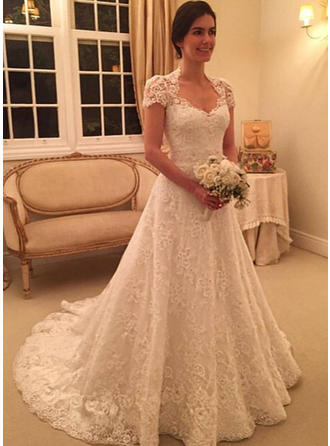 Ball-Gown Lace Short Sleeves Sweetheart Court Train Wedding Dresses