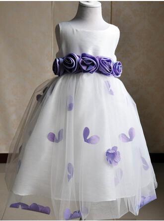 Luxurious Scoop Neck Ball Gown Flower Girl Dresses Knee-length Satin/Tulle Sleeveless