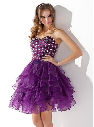 A-Line/Princess Sweetheart Organza Sleeveless Knee-Length Beading Cascading Ruffles Cocktail Dresses