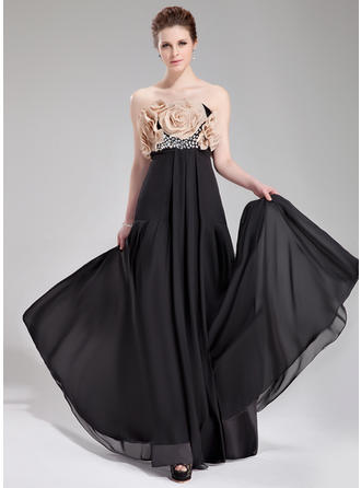 Empire Strapless Chiffon Sleeveless Floor-Length Beading Flower(s) Evening Dresses